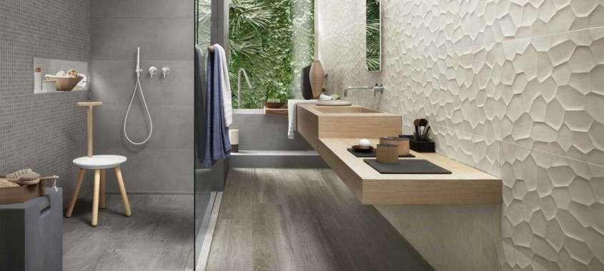 Piastrelle bagno moderno - Mattonelle bagno a rilievo Ragno