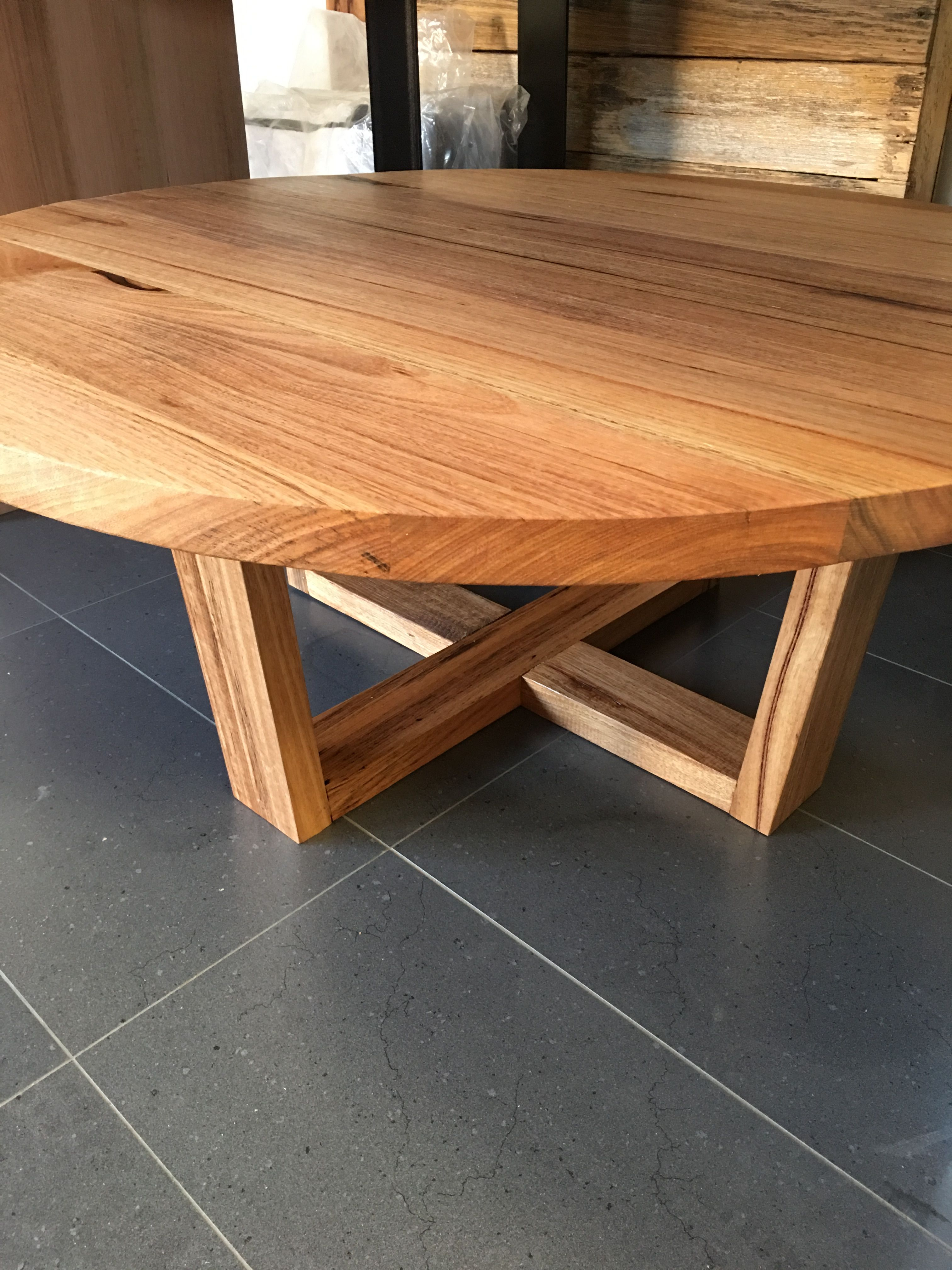 Recycled Messmate Round Coffee Table Round Wood Coffee Table