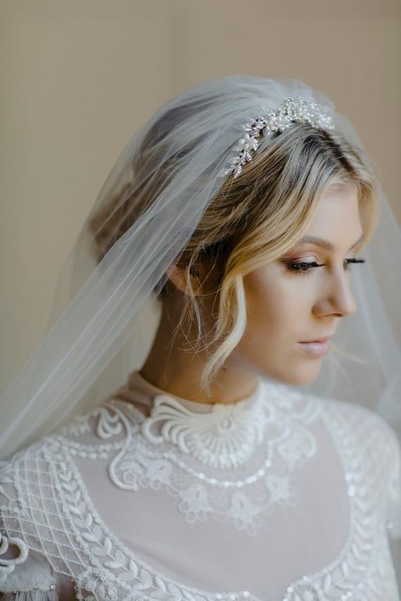 ENCHANTED | silver wedding tiara, art deco tiara, Swarovski crystal wedding crown -   11 hairstyles Wedding with veil ideas