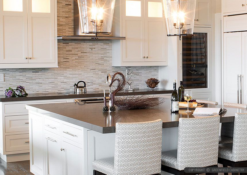 Brown quartz kitchen countertop white kitchen cabinets Backsplash ideas quartz countertops