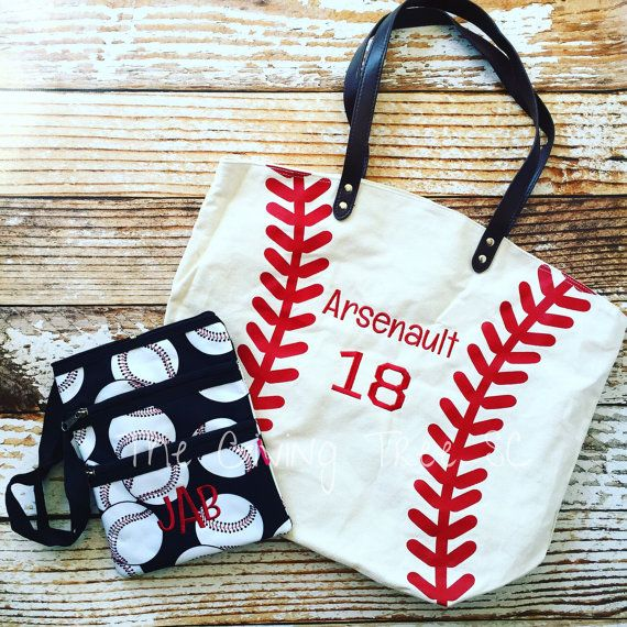 Personalized Baseball Tote Baseball Bag with by TheGivingTreeSC