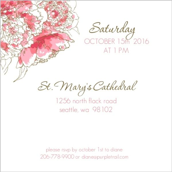 Pink Peony Funeral Service Invitation Memorial Pinterest - memorial service invitation wording