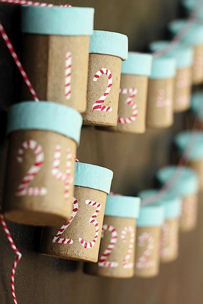 Crafts Unleashed cardboard tube advent calendar diy idea