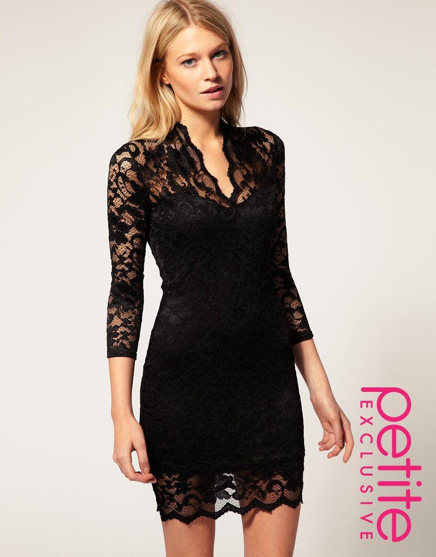 V neck black lace dress  Cheap Free Shipping Fashion Design Free Shipping Fashion Design Sexy