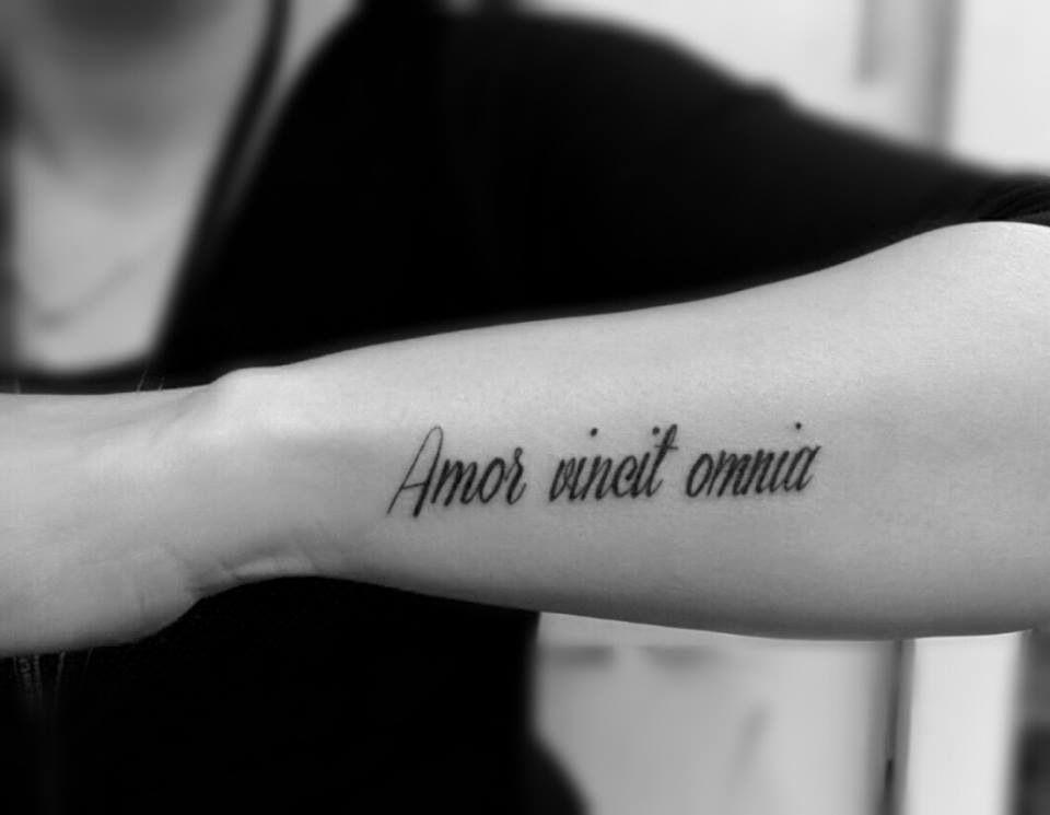 Amor vincit omnia tattoo done by Amir