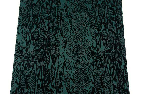 Green and Black Flocked Ponte Double Knit Fabric by felinusfabrics