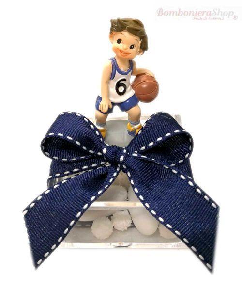 Miniatura Basket Su Scatolina Plexiglass Bomboniera Comunione Bambino Gioco Sport Basket Rappresentera Il Suo Bomboniere Bomboniere Fai Da Te Barattolini