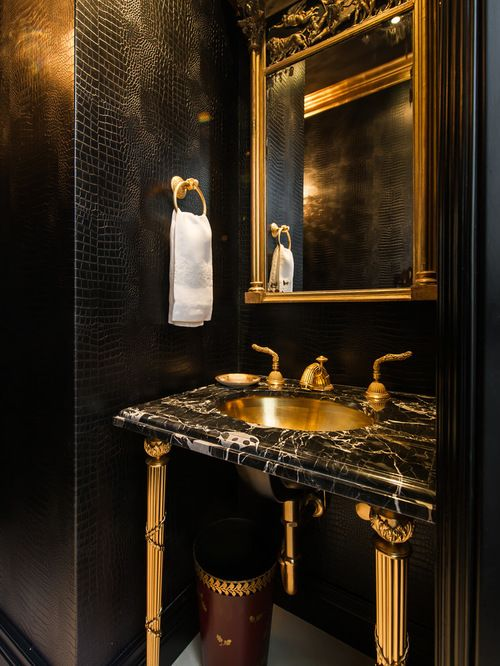 Best Black Gold Powder Room Design Ideas & Remodel