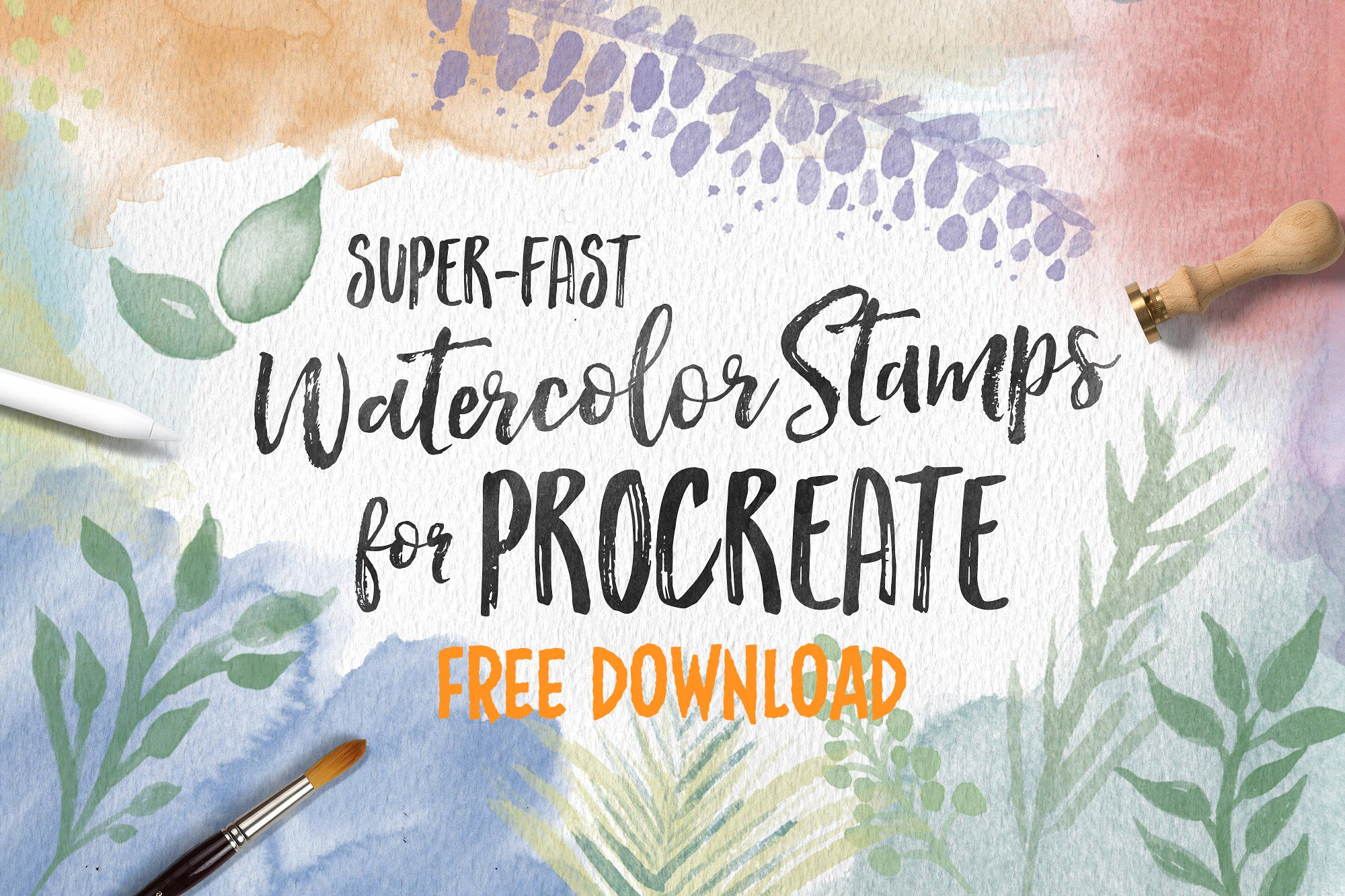 Free Download Watercolor Stamps For Procreate Sponsored