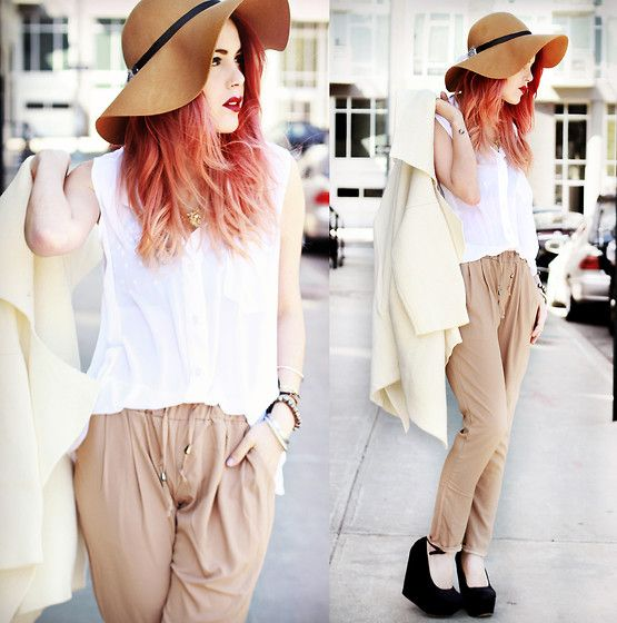 Chicwish White Blouse, Romwe Coat, Pants, Jessica Buurman Shoes, Hat - Last days in New York. - Lua P