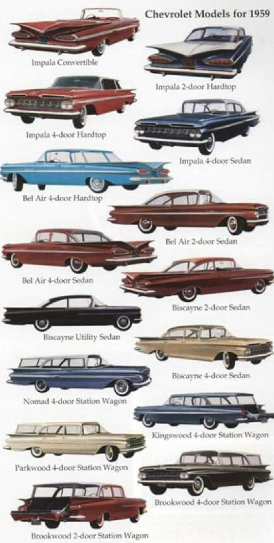 1959 Chevy Line Up Classic Cars Trucks Classic Cars Vintage