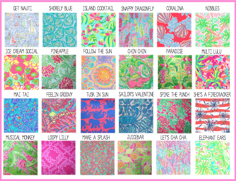 Lilly Pulitzer Identification Pineapple Pattern Fabrics