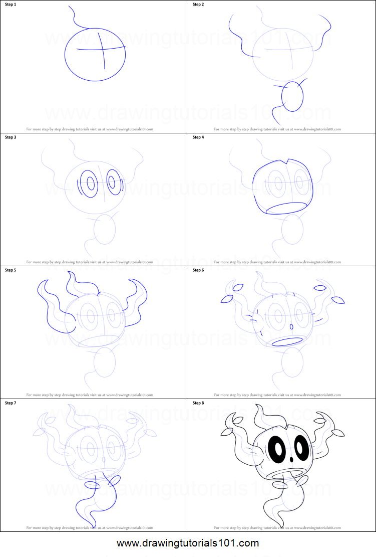 How to Draw Phantump from Pokemon printable step by step drawing sheet : DrawingTutorials101.com