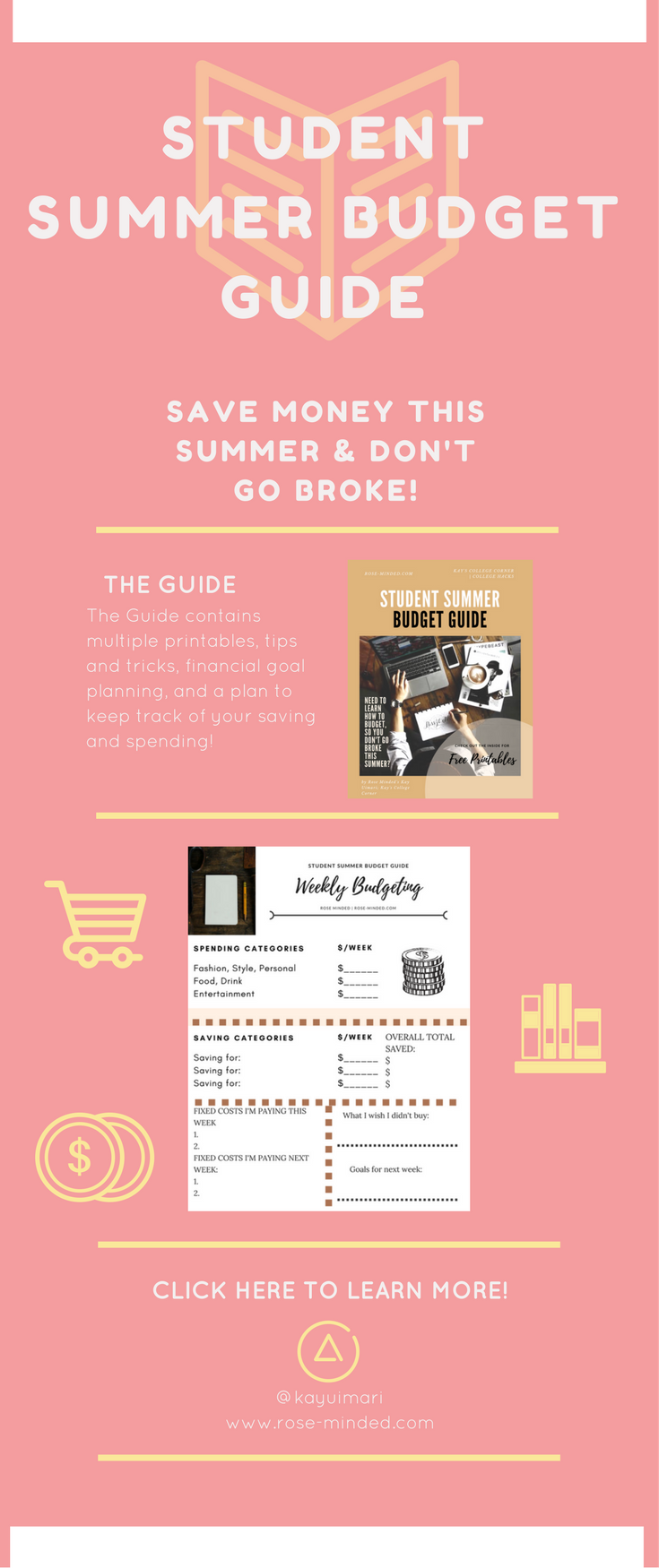 Student Summer Budget Guide  Free Printables  College Student