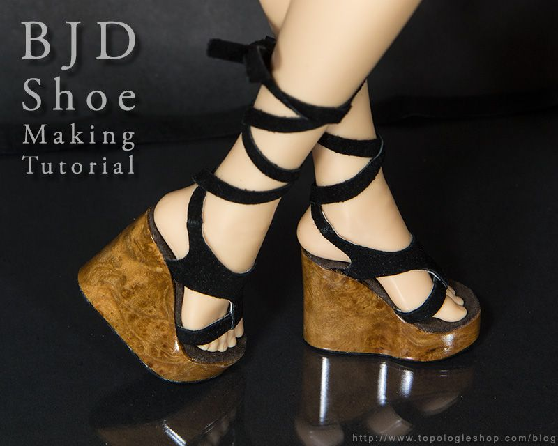 BJD shoe tutorial with wood soles. Doll clothes tutorial