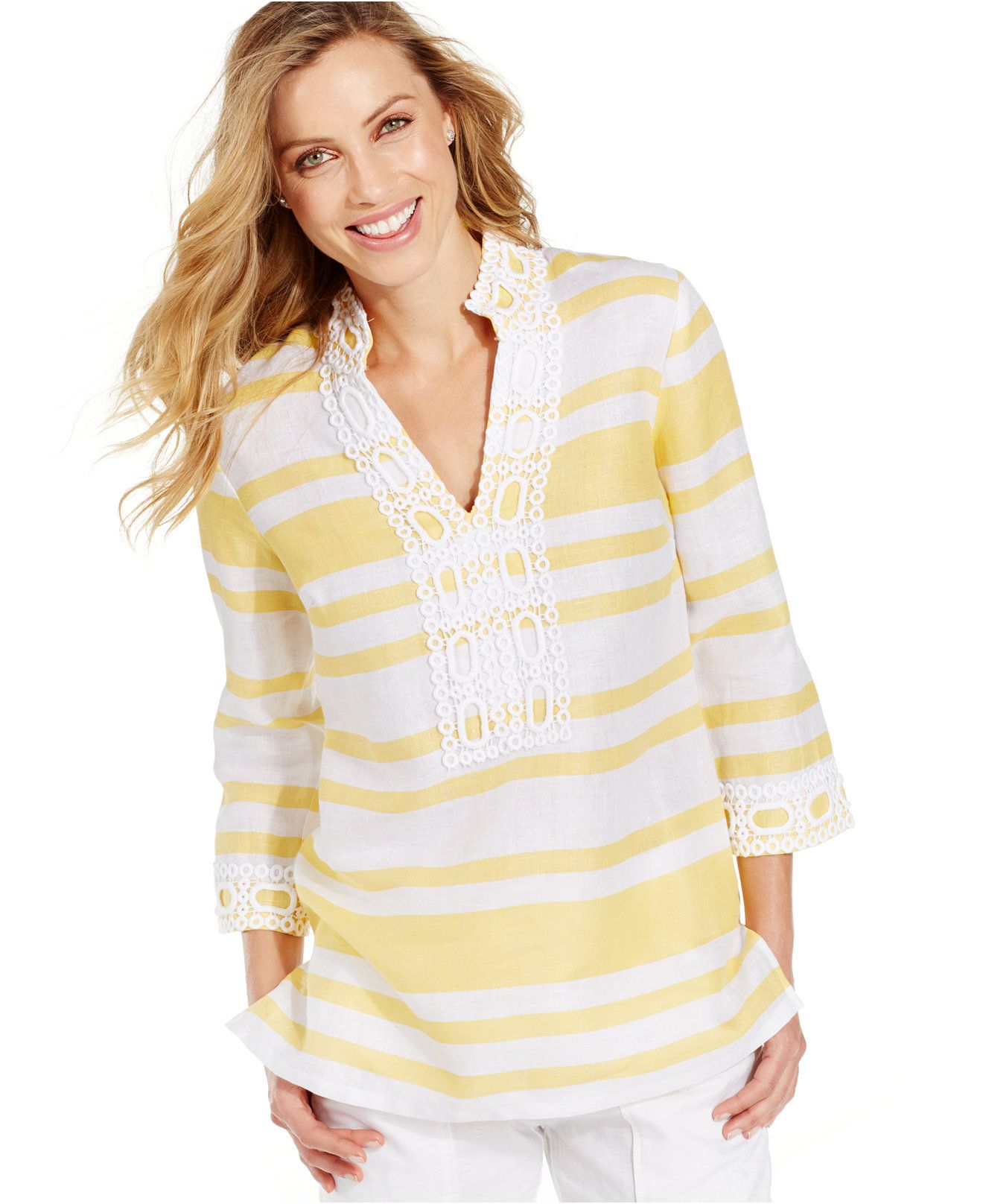 Charter Club Petite Embroidered Striped Linen Tunic - Tops - Petites -  Macy's
