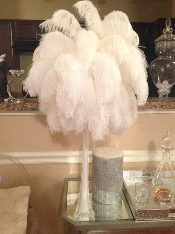 22 Inch Ostrich Feather Centerpiece In White By Slimcrafts On Etsy