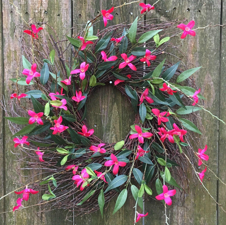 Photo of Spring Door Wreath-Front Door Wreath-Everyday Wreath-Twig Wreath-Pink Wreath-Farmhouse Wreath-Natural Wreath-Pink Floral Wreath-Forsythia