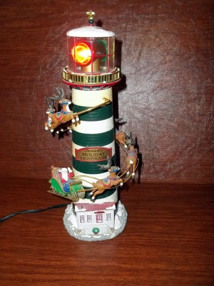 1998 Mr. Christmas Holiday Lighthouse Table Tree Topper