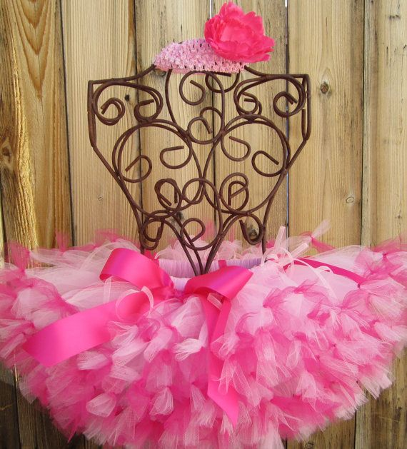 HOT PINK PETTI Ribbon Tutu Petti with Matching Free Flower Headband - Sizes Newborn to 5T