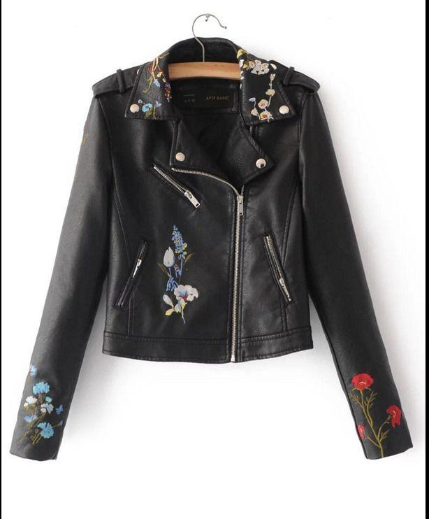 2c6ac59e423f Womans Luxurious Pu Leather Embroidery Locomotive Outwear Jacket Coats 4  Colors
