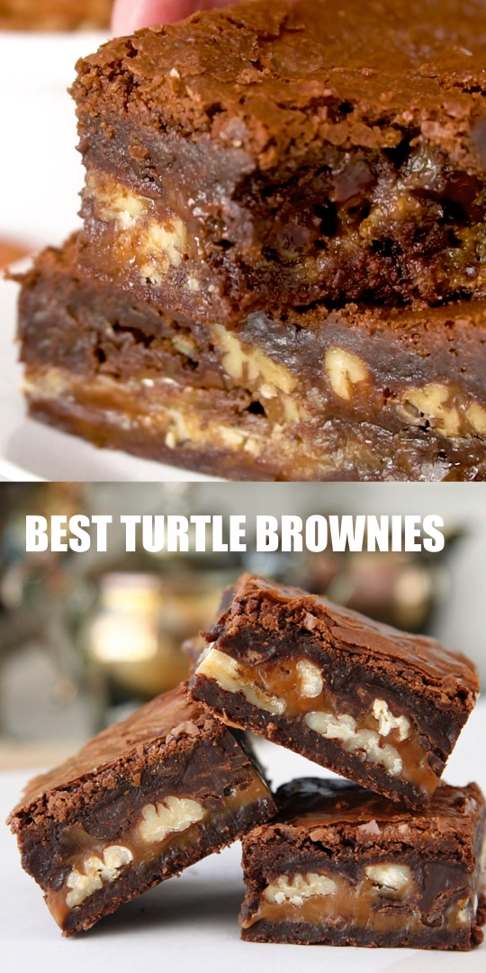 BEST HOMEMADE TURTLE BROWNIES