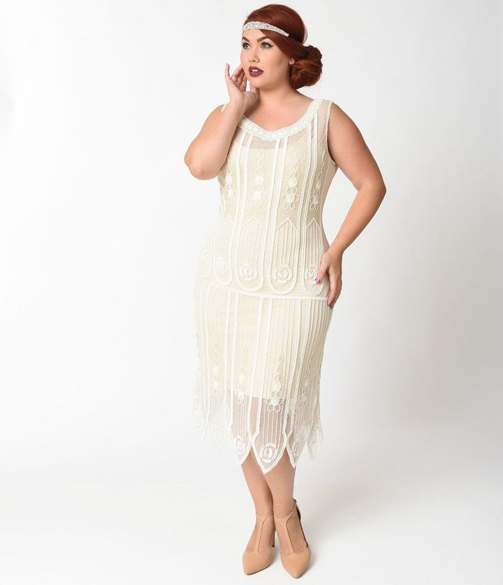 d33ad183221b5 Unique Vintage Plus Size 1920s Ivory Beaded   Sequin Steinway Flapper Dress