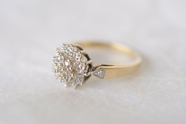 1970s vintage 9k diamond cluster engagement ring