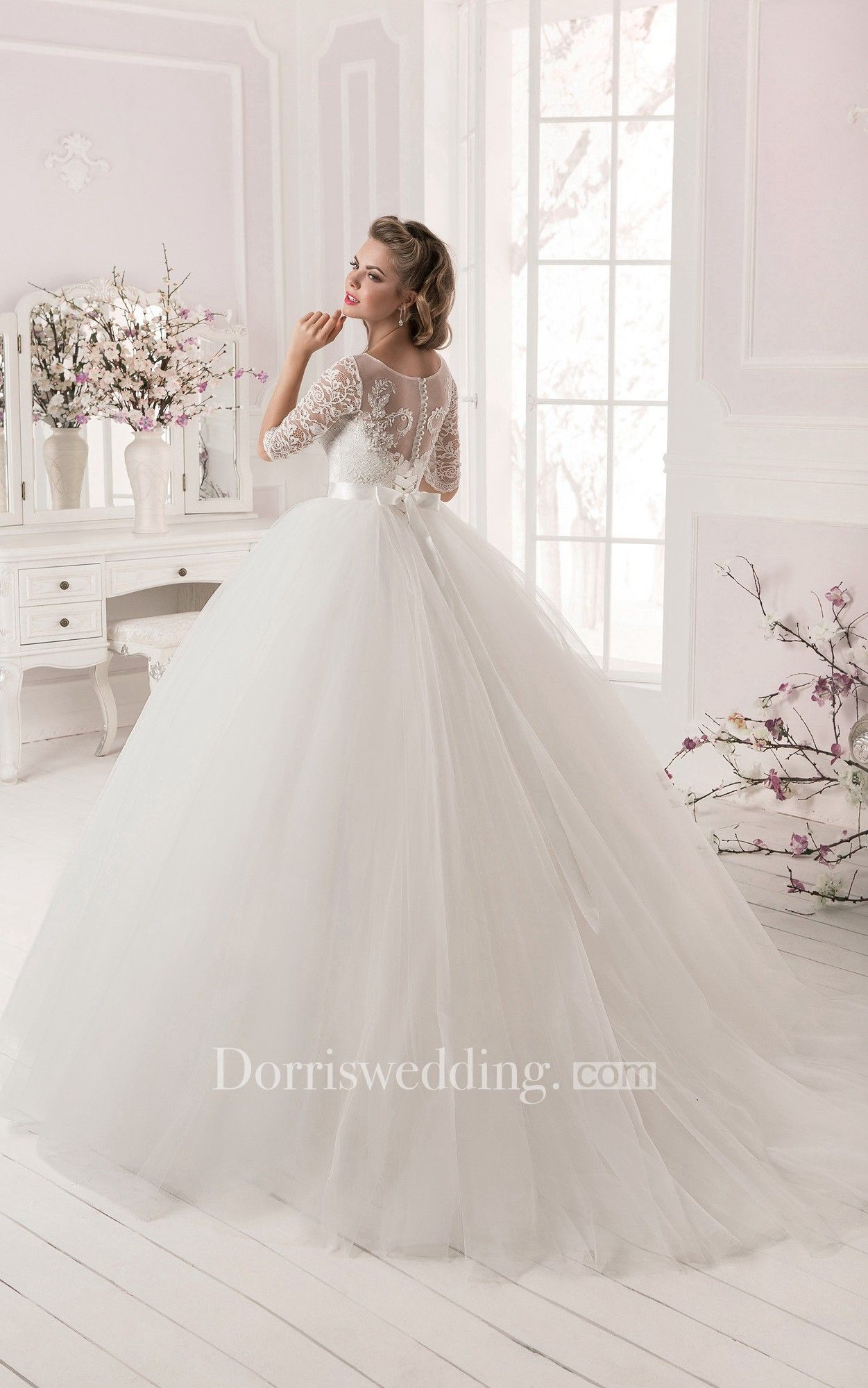 Ball gown laceutulle long sleeve dress with crystal detailing ball