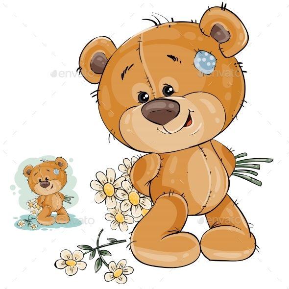 Teddy Bear Hides Bouquet Of Flowers Bear Illustration Teddy Bear Pictures Cartoon Clip Art