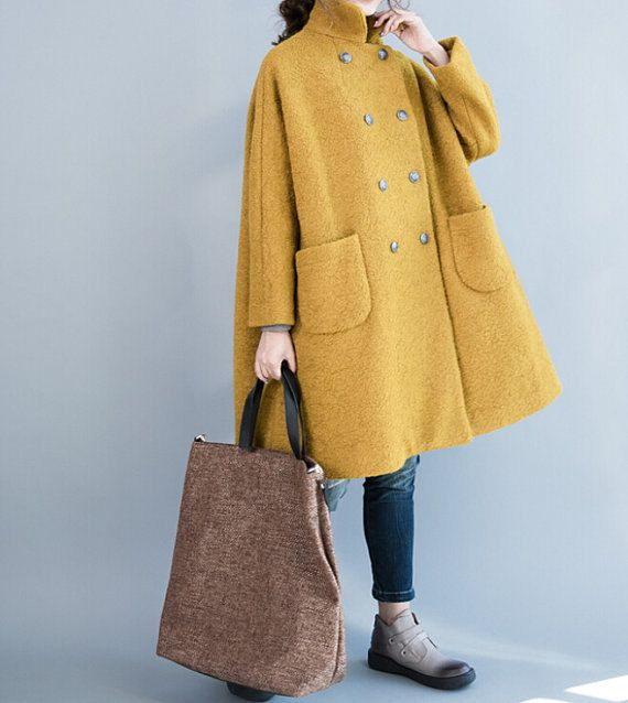 Women winter Clothing oversized loose double breasted wool coat yellow  Overcoat gray Overcoat