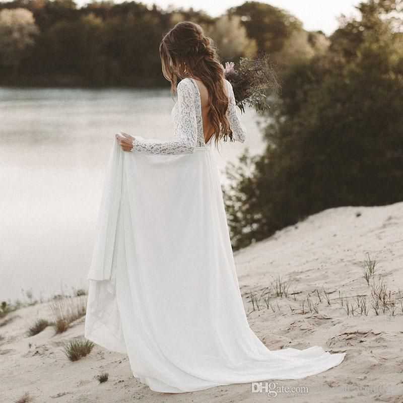 94fe8810effa Beach Country Wedding Dresses 2019 A-line Chiffon Lace Top V Neck V Back  With Long Sleeves Draped Backless Bridal Gown Illusion Sweep Train