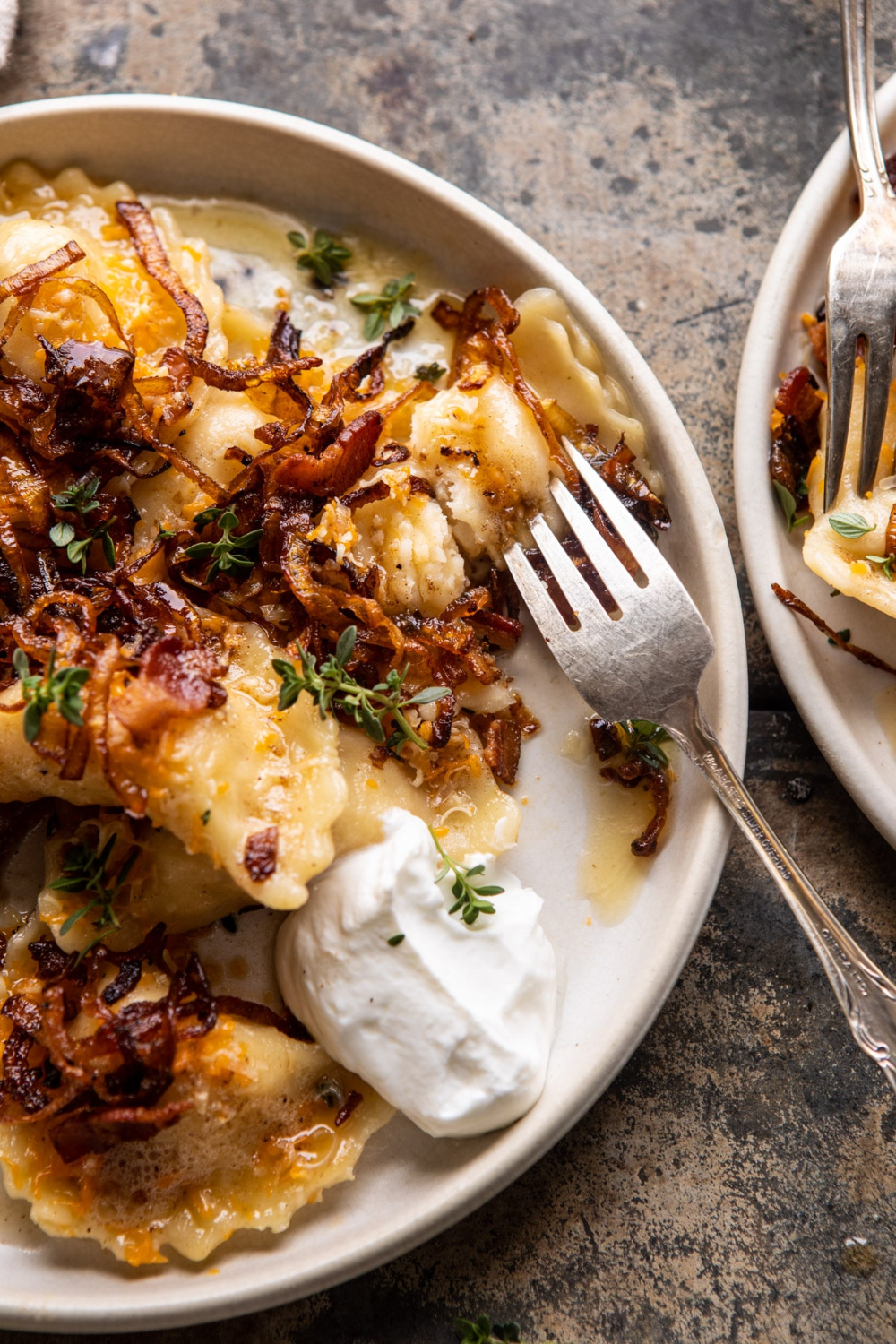Cheddar Pierogies with Caramelized Onions and Bacon. - Half Baked Harvest