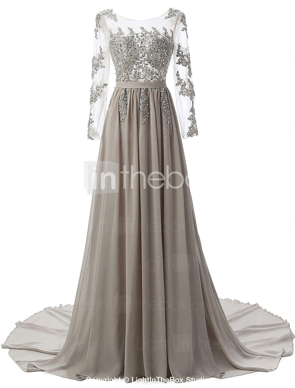 14.14] A-Linie luxuriös Grau Verlobung Formeller Abend Kleid
