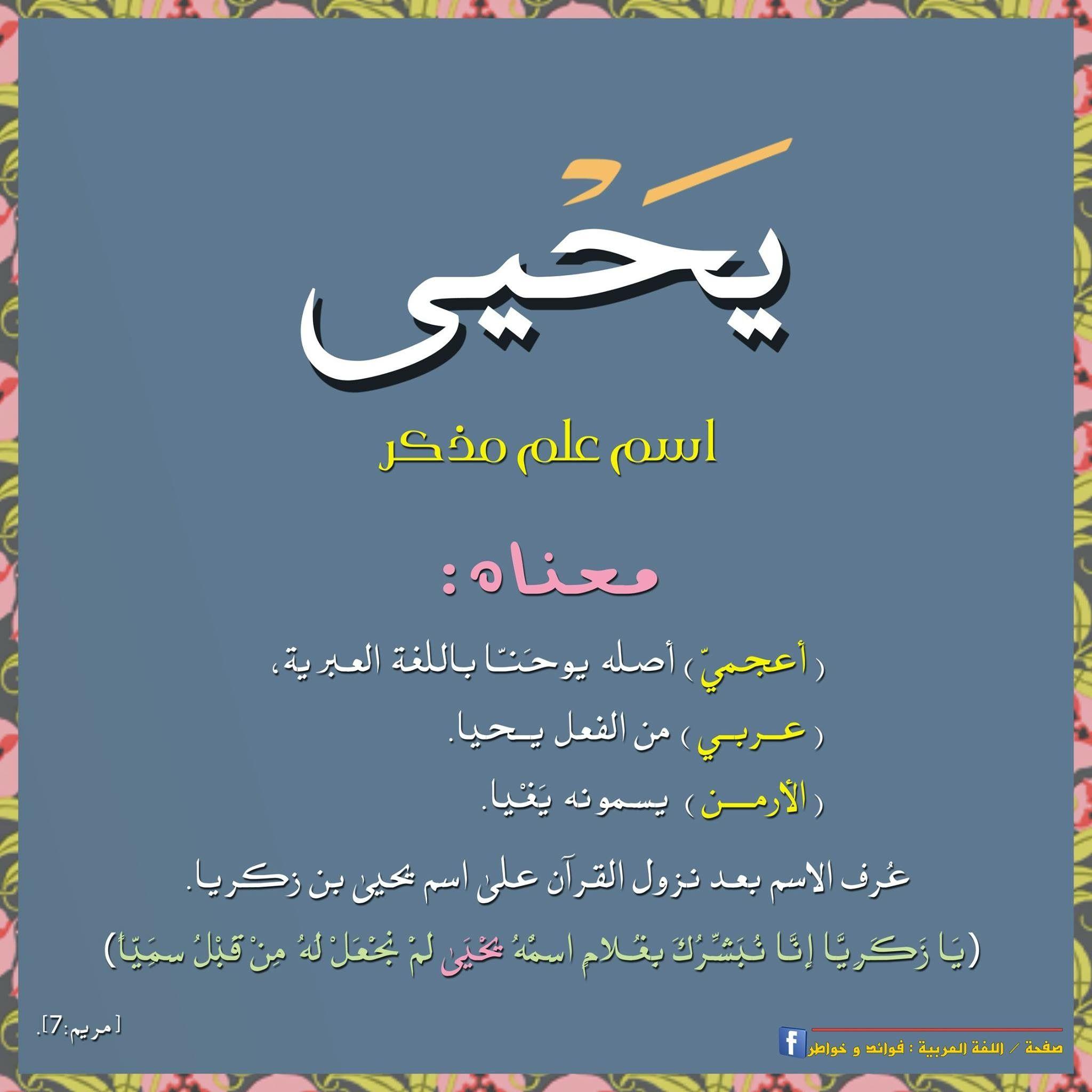 معنى يحيى Learn Arabic Language Words Quotes Words