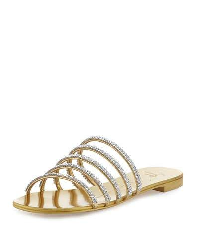 5346132b04a1 X3ERF Giuseppe Zanotti Crystal-Embellished Multi-Strap Slide Sandal ...