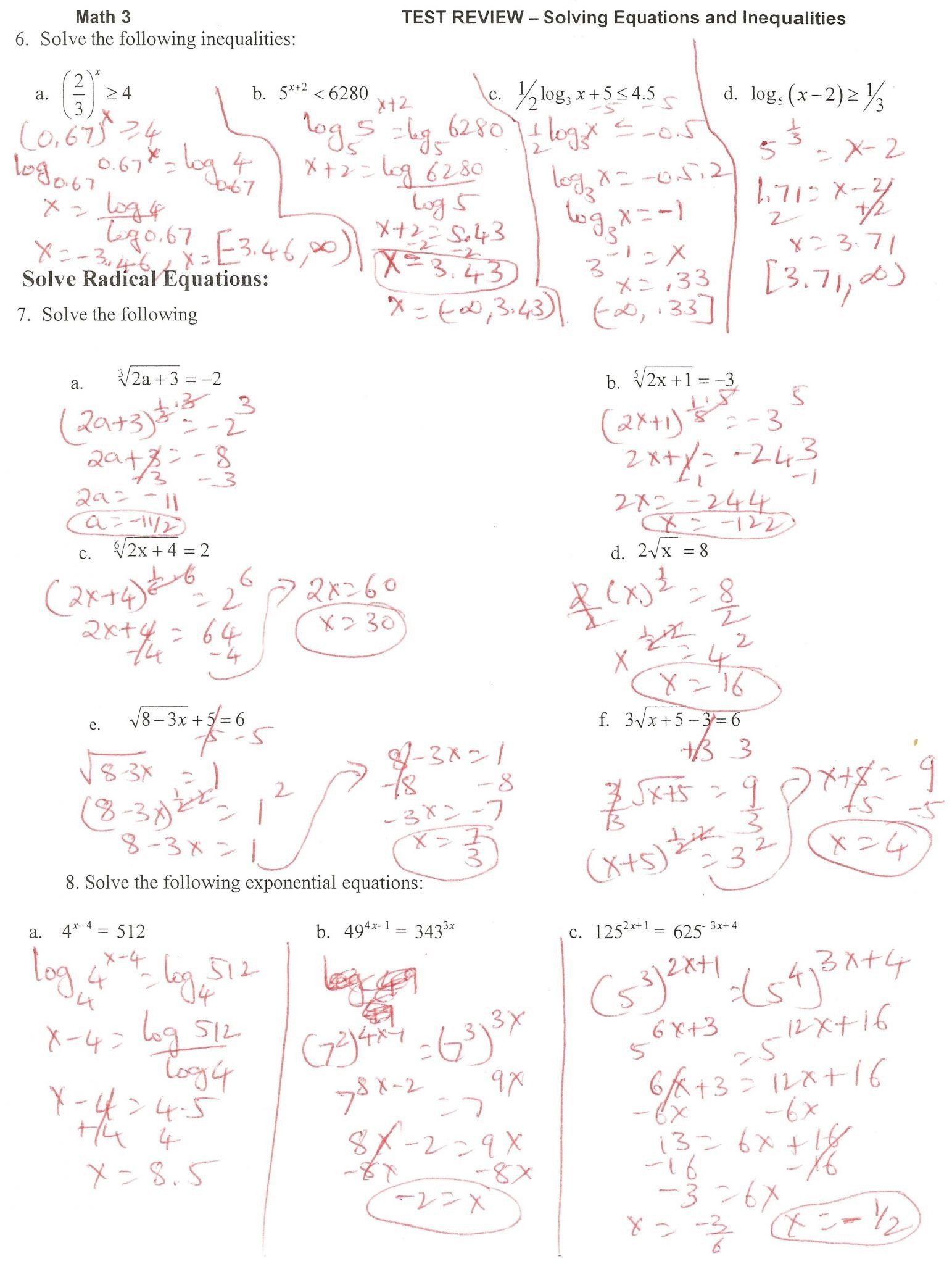 Logarithm Worksheet With Answers Solving Logarithmic Equations Worksheet Answer Key Equations Solving Equations Radical Equations