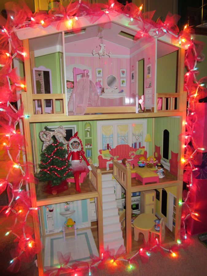 Elf on the Shelf, Samantha, decorated the doll house!! | Elf on ...