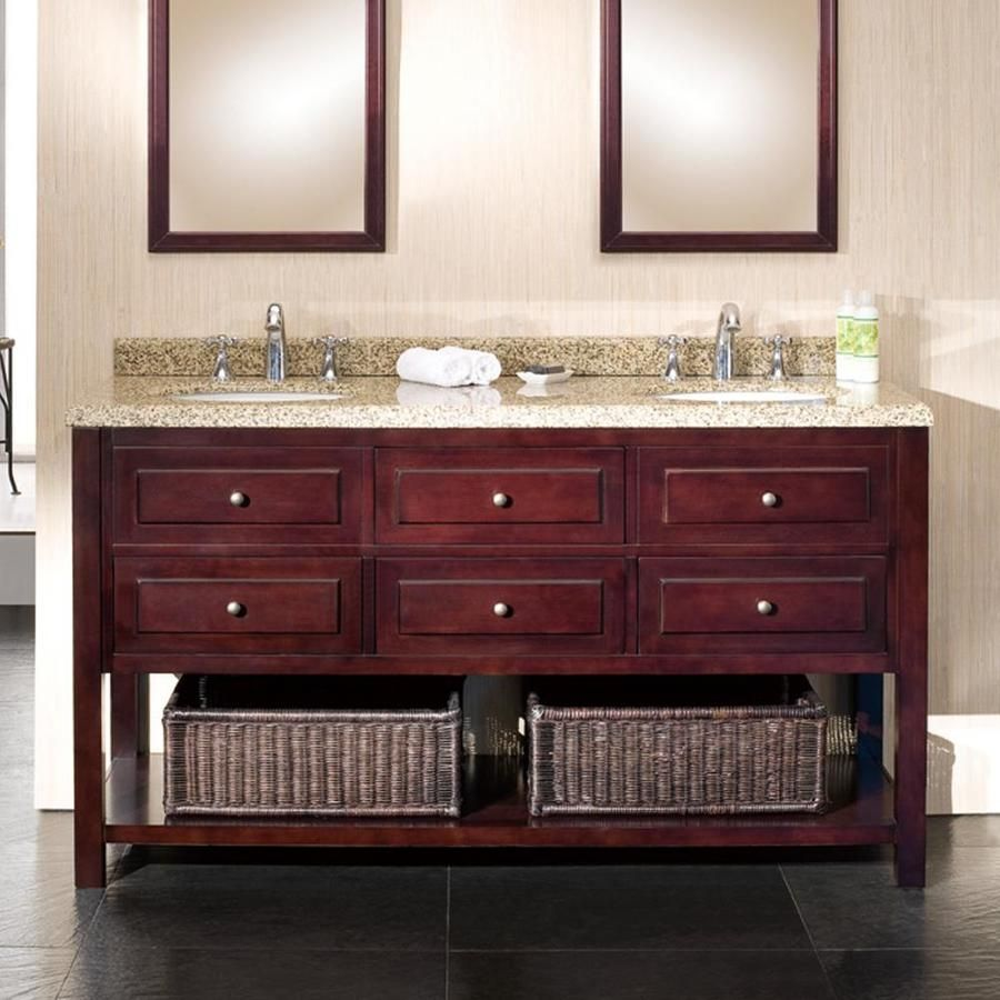 ove decors danny 60 in mahogany double sink bathroom on lowes vanity id=77877