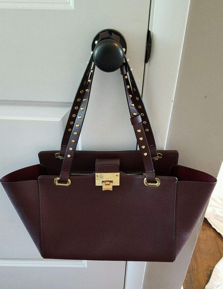 Jenrigo Leather Burgundy Stud Accented Large Purse Handbag Bag Shoulderbag