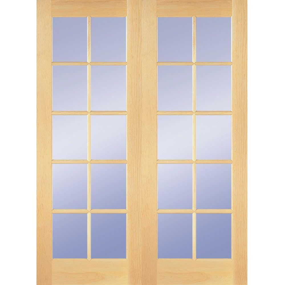 Builders Choice 48 In X 80 In 10 Lite Clear Wood Pine Prehung Interior French Door Hdcp151040 French Doors Interior Prehung Interior French Doors Discount Interior Doors