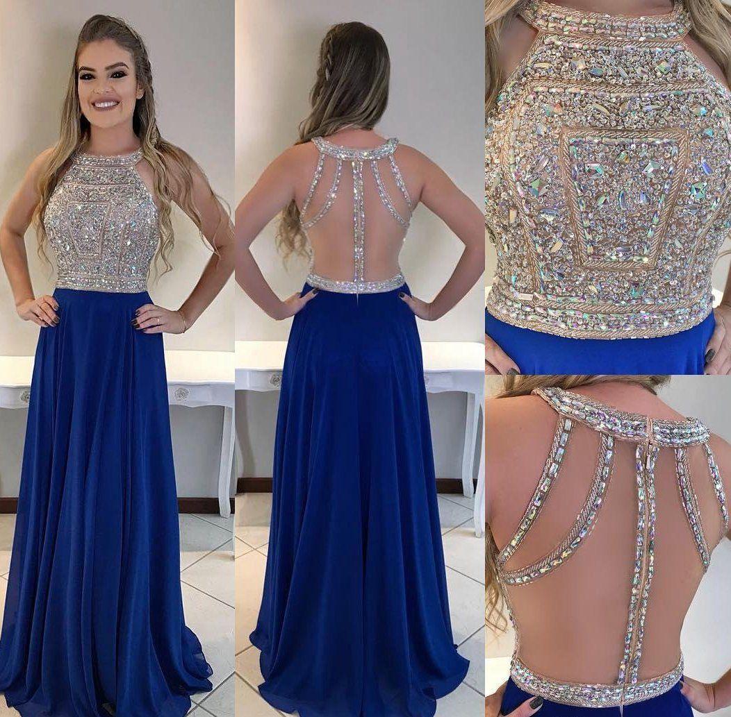 Königsblau Langes Abendkleid Mit Perlen Maßgeschneiderte Schule Tanzkleid Mode Hochzeit Kleid YDP0615   – Bridesmaids dresses