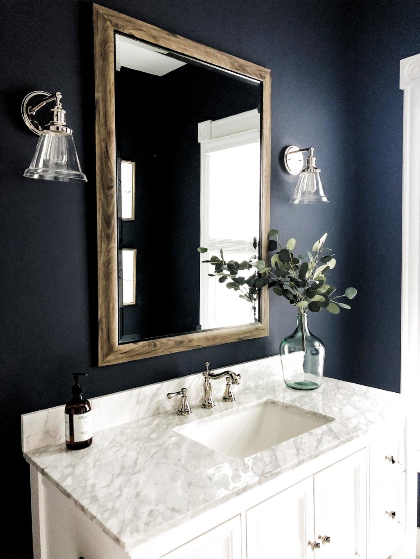Deep Blue Bathroom Paint Color Powder Room Decor Bonus Bathroom Inspiration Half Bath Ins In 2020 Powder Room Decor Bathroom Paint Colors Blue Bathroom Paint Colors