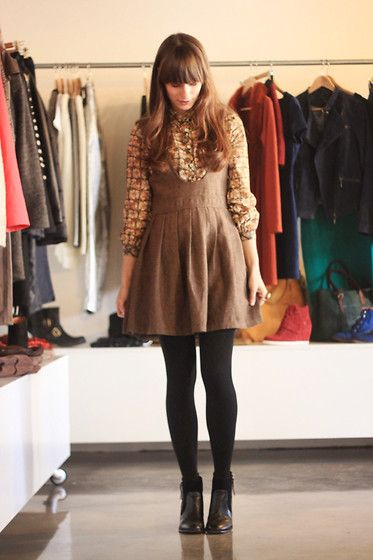 Vintage Blouse, Romwe Pinafore, Nelly.Com Boots