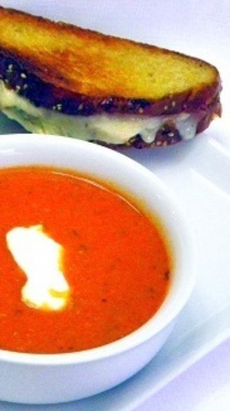 Spicy Sriracha Tomato and Blue Cheese Soup... Sometimes I feel like I am a collector of Tomato soup but who can resist the SPICY Asian HOT SAUCE added to a savory sweet blue cheese soup... This is such a surprise and such a WINNER!