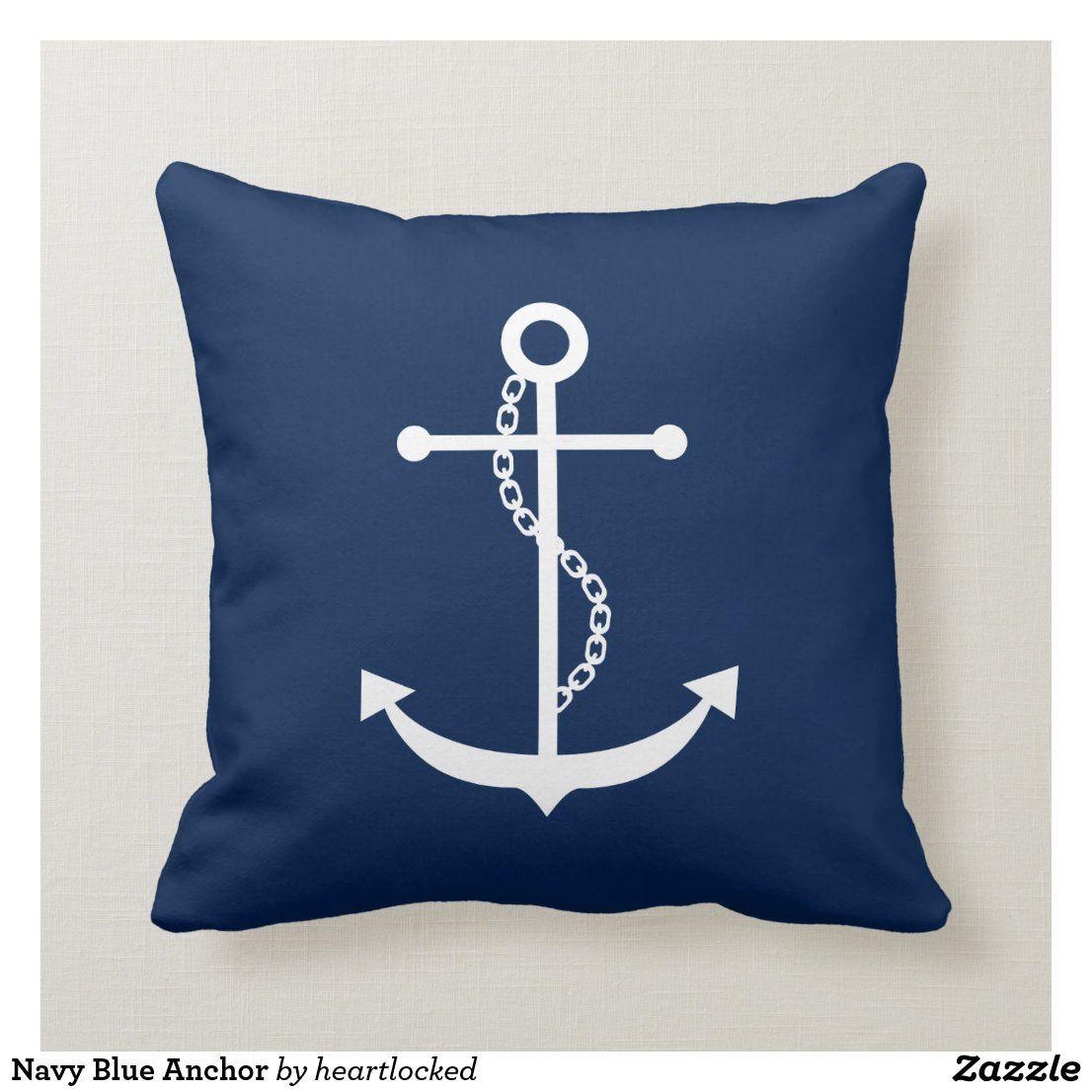 Navy Blue Anchor Throw Pillow | Zazzle