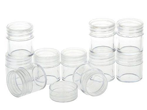 Healthcom New Empty Clear 10 Gram Plastic Pot Jars Cosmetic Containers For Eyshadow Makeup Nail Powder 100 Pc Cosmetic Containers Powder Nails Plastic Pots