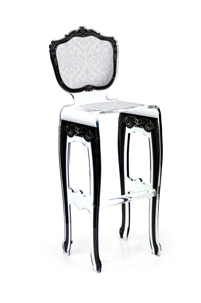 Baroque Barstool - White with plexiglass legs
