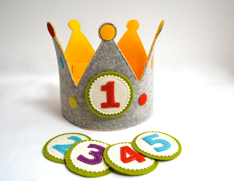 Birthday crown with 5 replaceable buttons pure wool felt