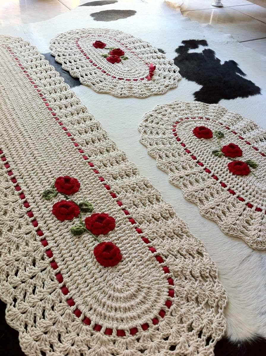 Tapete jogo de cozinha de croche com aplica ao de flores for Tapetes de crochet